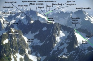 Map of the Mountain Peaks Climbed on the Ptarmigan Traverse